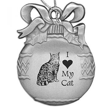 Pewter Christmas Bulb Ornament  - I Love My Cat