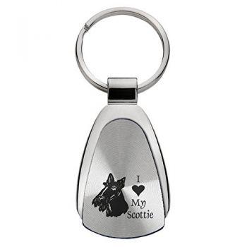 Teardrop Shaped Keychain Fob  - I Love My Scottish Terrier