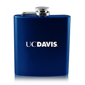 University of California, Davis -6 oz. Color Stainless Steel Flask-Blue