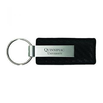 Quinnipiac University-Carbon Fiber Leather and Metal Key Tag-Black