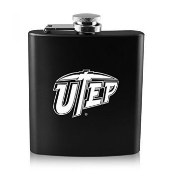 The University of Texas at El Paso -6 oz. Color Stainless Steel Flask-Black