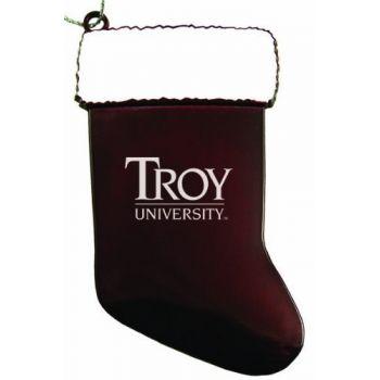 Troy University - Chirstmas Holiday Stocking Ornament - Burgundy