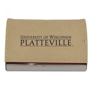 Velour Business Cardholder-University of Wisconsin-Stout-Tan