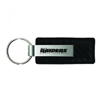 Middle Tennessee State University-Carbon Fiber Leather and Metal Key Tag-Black