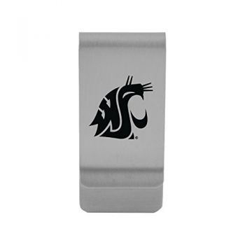 Washington State University|Money Clip with Contemporary Metals Finish|Solid Brass|High Tension Clip to Securely Hold Cash, Cards and ID's|Gold