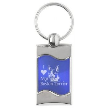 Keychain Fob with Wave Shaped Inlay  - I Love My Boston Terrier