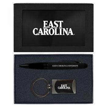 East Carolina University-Executive Twist Action Ballpoint Pen Stylus and Gunmetal Key Tag Gift Set-Black