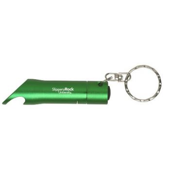 Slippery Rock University of Pennsylvania - LED Flashlight Bottle Opener Keychain - Green