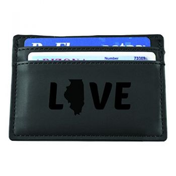 Illinois-State Outline-Love-European Money Clip Wallet-Black