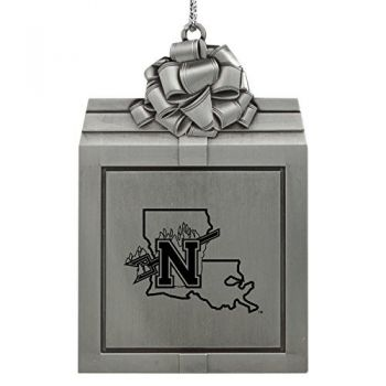 Northwestern State University -Pewter Christmas Holiday Present Ornament-Silver