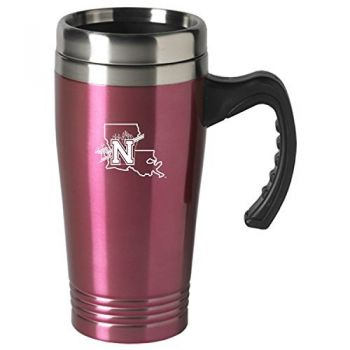 Northwestern State University-16 oz. Stainless Steel Mug-Pink