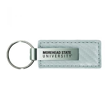 Morehead State University-Carbon Fiber Leather and Metal Key Tag-White