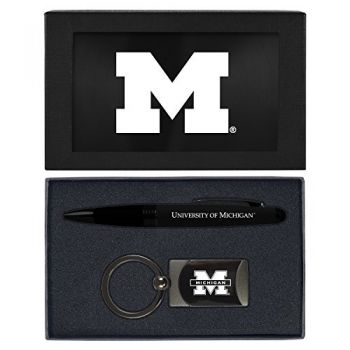 University of Michigan -Executive Twist Action Ballpoint Pen Stylus and Gunmetal Key Tag Gift Set-Black