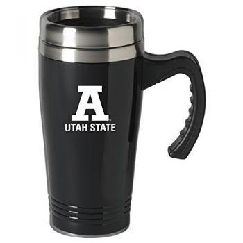 Utah State University-16 oz. Stainless Steel Mug-Black