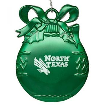 University of North Texas - Pewter Christmas Tree Ornament - Green