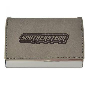 Velour Business Cardholder-Southeastern Louisiana University-Grey