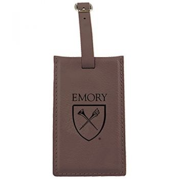 Emory University-Leatherette Luggage Tag-Brown