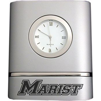 Marist College- Two-Toned Desk Clock -Silver