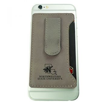 Northwestern State University -Leatherette Cell Phone Card Holder-Tan
