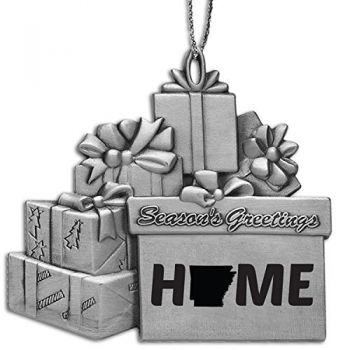 Arkansas-State Outline-Home-Pewter Gift Package Ornament-Silver
