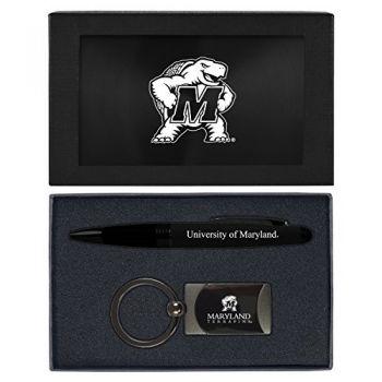 University of Maryland-Executive Twist Action Ballpoint Pen Stylus and Gunmetal Key Tag Gift Set-Black