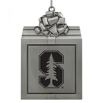 Stanford University -Pewter Christmas Holiday Present Ornament-Silver