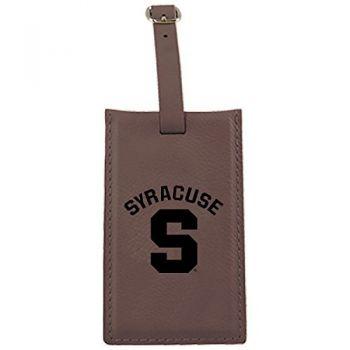 Syracuse University-Leatherette Luggage Tag-Brown