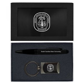 South Carolina State University -Executive Twist Action Ballpoint Pen Stylus and Gunmetal Key Tag Gift Set-Black
