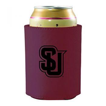 Seattle University -Leatherette Beverage Can Cooler-Burgundy