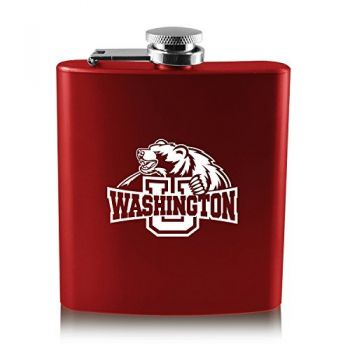 Washington University in St. Louis-6 oz. Color Stainless Steel Flask-Red