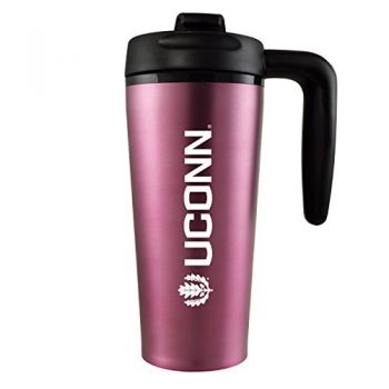 University of Connecticut-16 oz. Travel Mug Tumbler with Handle-Pink