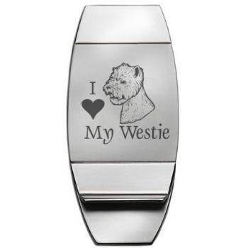 Stainless Steel Money Clip  - I Love My Westie