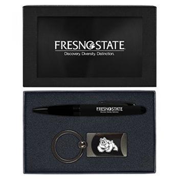 Fresno State -Executive Twist Action Ballpoint Pen Stylus and Gunmetal Key Tag Gift Set-Black