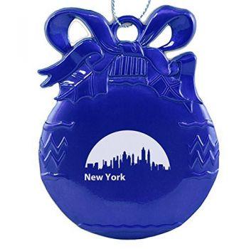 Pewter Christmas Bulb Ornament - New York City City Skyline