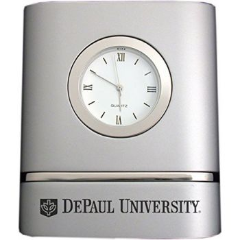DePaul University- Two-Toned Desk Clock -Silver