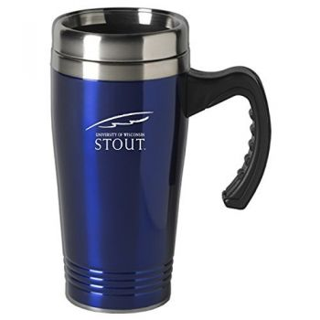 University of Wisconsin-Stout-16 oz. Stainless Steel Mug-Blue