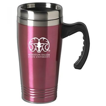 Winston-Salem State University-16 oz. Stainless Steel Mug-Pink