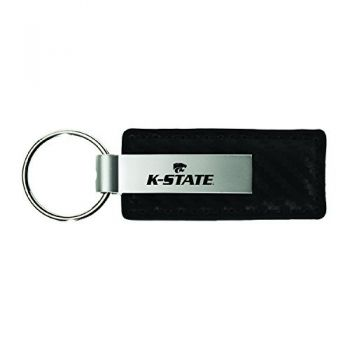 Kansas State University-Carbon Fiber Leather and Metal Key Tag-Black