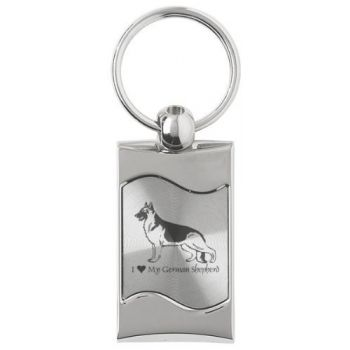 Keychain Fob with Wave Shaped Inlay  - I Love My German Shepard