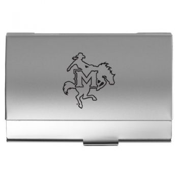 McNeese State University - Two-Tone Business Card Holder - Silver