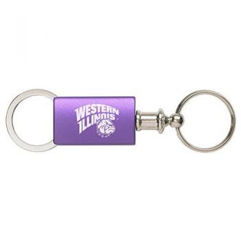 Western Illinois University - Anodized Aluminum Valet Key Tag - Purple