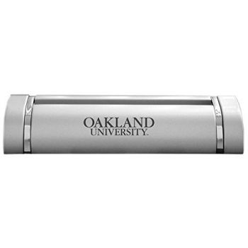 Oakland University-Desk Business Card Holder -Silver