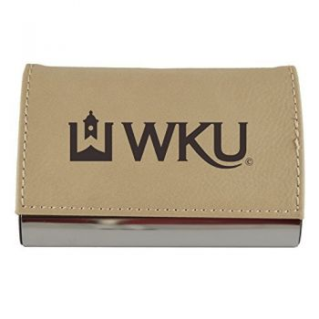 Velour Business Cardholder-Western Kentucky University-Tan