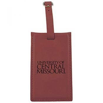 University of Central Missouri -Leatherette Luggage Tag-Burgundy