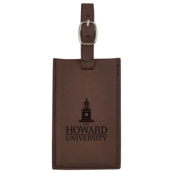 Howard University -Leatherette Luggage Tag-Brown