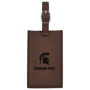 Michigan State University-Leatherette Luggage Tag-Brown