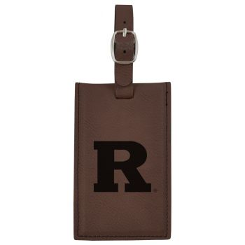 Rutgers University -Leatherette Luggage Tag-Brown