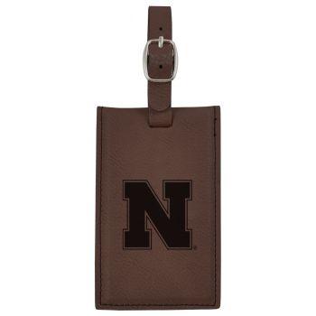 University of Nebraska-Leatherette Luggage Tag-Brown