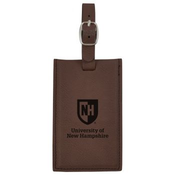 University of New Hampshire -Leatherette Luggage Tag-Brown