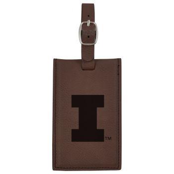 University of Illinois -Leatherette Luggage Tag-Brown